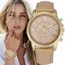 Fashion Women's Geneva Roman Watch Numerals Leather Analog Quartz Wrist Watches