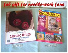 BUNDLE book Classic Knits + Cross Stitcher #603) easy handy-craft hobby Gift DIY