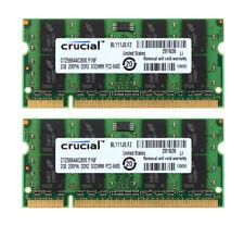 4GB RAM Crucial 2X 2GB 2RX8 PC2-6400S DDR2 800Mhz 200Pin SODIMM Laptop Speicher