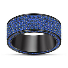 10K BLACK GOLD FN 1.25 CT MENS BLUE SAPPHIRE ENGAGEMENT WEDDING PINKY RING BAND