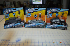 Lot of 3 FAST & FURIOUS DOM ICE CHARGER TEJ JEEP STUNT STARS TOY CAR W/ FIGURE