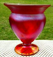 "FENTON Ruby Red Diamond Optic STRETCH GLASS FOOTED Vase 6""H x 5.75"" **NIB**"