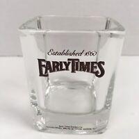 Early Times Kentucky Whiskey Bourbon Rocks Glass Square Prism Barware Brown Logo