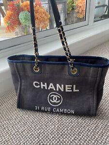 CHANEL Deauville MM Chain Shoulder Tote Bag Denim Navy Blue Gold