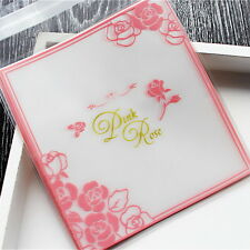 Plastic Resealable Biscuit Bags Pink Rose Pattern Self-Adhesive About 100pcs