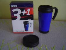 Iso Thermo Becher Kaffee Heißgetränk Farbe blau Deckel Auto Camping kalt heiß