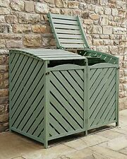 Double Wooden Wheelie Bin Store Storage Sage Green Garden Cover Recycling Out...