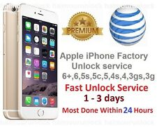 AT&T APPLE FACTORY UNLOCK IMEI SERVICE  iPHONE 6+ + PLUS 6 6s 5c 5s 5 4s 4 S ATT