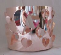 Bath & Body Works 3-Wick 14.5 oz Candle Sleeve Holder CUT-OUT HEARTS Rose Gold