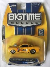 Jada BigTime Muscle 65 1965 Shelby GT-350 Yellow Rubber Tires Diecast 1/64 Scale