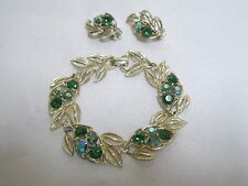 Vintage Set Figural Lisner Bracelet Clip On Earrings Goldtone Green Rhinestones