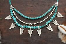 Lovely Handmade 3 Layer Blue Turquoise Pendant and Silver Arrow Beaded Necklace
