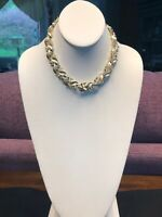 Vintage 1950S Gold Leaf LISNER Necklace With Hook Clasp Great Condition 12-17""