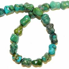 """T1210f Blue-Green 10x8mm Tumbled Nugget Stabilized Turquoise Gemstone Beads 16"""""""