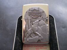 """ZIPPO/ A MEGA RARE VINTAGE HARLEY DAVIDSON """" WOLF AND MOON """" FROM 1997 NEW"""