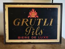 Original Vintage Switzerland 'Grutli Pils Biere de Luxe' Beer Sign - 50cm x 35cm