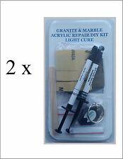 2 pack - Granite & Marble Acrylic Repair Diy Kit - Light Cure