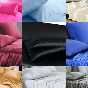 SALE 1000 TC Super Soft Satin Silk 2pc Pillow Cases Solid Scala Hotel collection