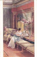 1910s ALMA-TADEMA Capricious Roman woman love scene old Russian antique postcard