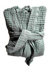 "Waffelpique Sauna/robe de chambre Peignoir bleu XL/XXL ""Stonewashed"" halbleinen"