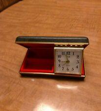 Rare Elgin Travel Alarm Clock&Jewelry Case (vtg).