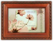 """FRIEND Flowers Woodgrain Photo Frame Music Box """"That's What Friends Are For"""""""