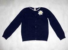 Gymboree Girls Large 10-12 Navy Blue Sweater w White Daisy & Trim 100% Cotton