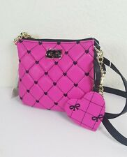 NWT LUV BETSEY BY BETSEY JOHNSON WOMEN BLACK PINK QUILTED CROSSBODY BAG