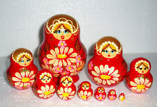 """Beautiful Russian Nesting Doll~10pc~5""""~CUTE~DAISIES ON BRIGHT RED ~HAND PAINTED"""