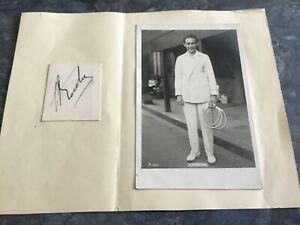 JEAN BOROTRA Tennis champion Autograph Signed Wimbledon Trim & Co postcard