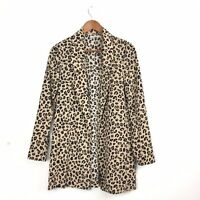 Stradivarius Animal Leopard Print Blazer Beige Long Lagenlook Unstructured M 10