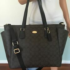 NEW COACH Black Brown Signature PVC Leather Laptop Travel Multifunction Baby Bag