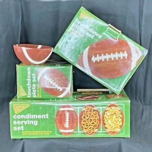 Football Plates 2 Sets of 4 Plus Touchdown Serving Set 2004 Boston Warehouse