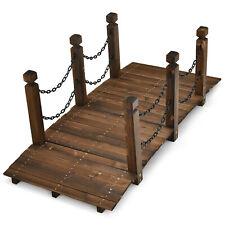 Patiojoy 5 ft Wooden Garden Bridge Arc Footbridge Stained Wood Finish Walkway