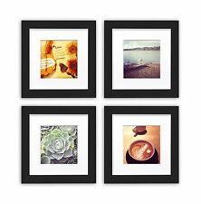 Smartphone Frames Collection, Set of 4, 6x6-inch Square Photo Wood Frames, Black