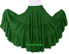 Black - 100% Cotton 10 Yard 3 Tiered Gypsy Skirt Belly Dance Flamenco Soft Jupe