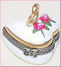 HEART SHAPED RING BOX-Porcelain Hinged-Box-HAND-PAINTED
