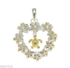 925 SILVER HAWAIIAN PLUMERIA FLOWER HEART LEI 2T YELLOW SEA TURTLE HONU PENDANT