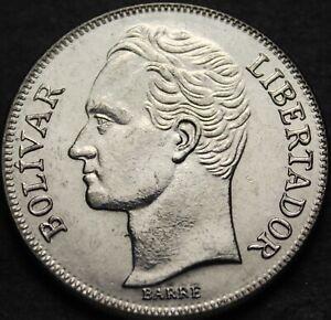 Venezuela 5 Bolivares, 1990 Unc~Large Head Variety~Last Year Ever~Free Shippping
