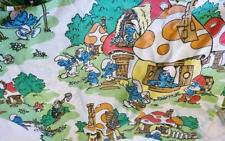 Vtg Smurfs Twin Flat Fitted Sheet Set w Pillowcase Lawtex 1980s Mushrooms