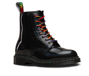 Doc Martens England Women Leather 1460 Rainbow  🌈 Black Patent 8 Eyes New 2020
