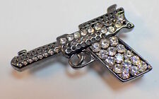 Rhinestone Bling Pistol Handgun Gun Show your Support Pin Brooch Broach
