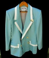 Oleg Cassini Aqua White Double Breasted Jacket Blazer Top Womens 8