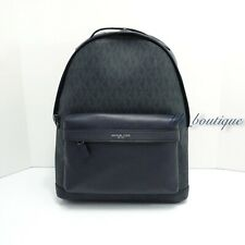 NWT Michael Kors Men's Russel Laptop School Bag Backpack PVC Leather Baltic Blue