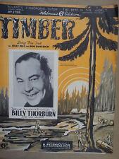 song sheet TIMBER Billy Thorburn 1936