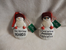 CHRISTMAS 4.75''IN.RESIN SNOWMAN 2/ASSORTED WITH SAYINGS ORNAMENTS-NEW