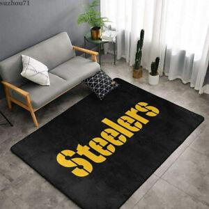 Pittsburgh Steelers Fluffy Floor Mat Area Rug Living Room Non-Slip Carpet Decor