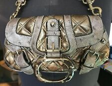 *Guess Magnetic Flap Clutch Purse Silver Metallic Accents Kiss Lock