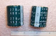 QTY (5) 270uf 400V 105' SNAP-IN ELECTROLYTIC CAPACITORS LGU2G271MHLB NICHICON
