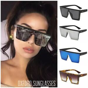 New Style Womens Ladies Sunglasses Square Oversized Luxury Flat Top BlackLeopard